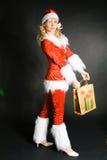 som den härliga klädda flickan santa Royaltyfria Foton