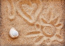 som det t?ta sandhavet f?r bakgrund shells upp arkivbilder