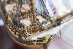 som detaljexempelspansk gallion gjorde hobbyen model praktiskt trä royaltyfria foton
