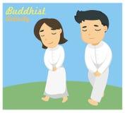 ` Som går meditation` en av den buddistiska aktiviteten Arkivbild