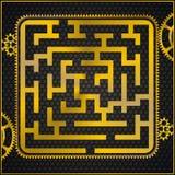 som guld- labyrintmaze för kugghjul Royaltyfri Bild
