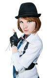som härlig klädd gangsterflicka Arkivbild