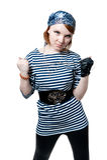 som härligt, piratkopierar den klädda flickan royaltyfri fotografi