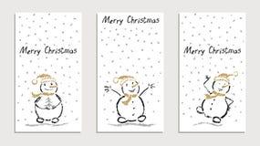 Som handen för unge` s dragen kortuppsättning med den roliga le snögubben för glad jul med fallande snöflingor vektor illustrationer