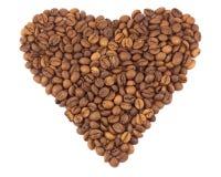 som hjärta för svart kaffe för bönor Royaltyfri Bild