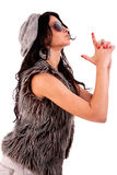 som kvinna för vapen för handtjänstemanpolis Royaltyfria Bilder