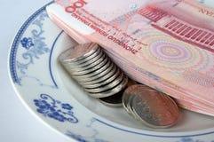 som maträtten som ger pengarplattan Royaltyfria Bilder