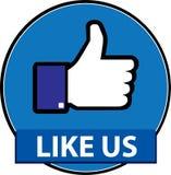 Som oss facebookknappvektor stock illustrationer