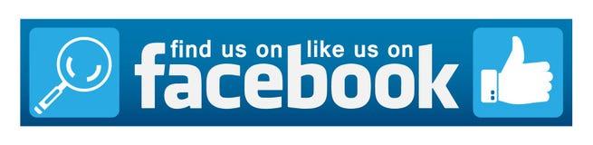 Som oss på facebook och att finna oss på symbolen för logo för facebookbanerillustrationer för rengöringsduk vektor illustrationer