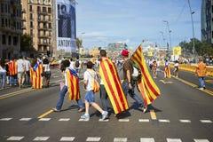 Som superheros på den nationella dagen av Catalonia Arkivfoto