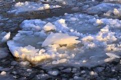 Is som svävar på floden Arkivbild