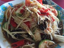 Som Tam food cuisine from Thailand. Som Tam is green papaya salad cuisine from Thailand stock photography