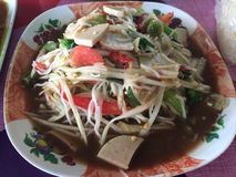 Som Tam food cuisine from Thailand. Som Tam is green papaya salad cuisine from Thailand royalty free stock photos