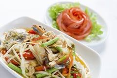 Som tam, green papaya salad. Closeup of Green Papaya Salad, Thai national Royalty Free Stock Photo