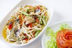 Som tam, green papaya salad. Closeup of Green Papaya Salad, Thai national apetizer Royalty Free Stock Photo