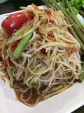 Som Tam. Is green papaya salad cuisine from Thailand Stock Photography