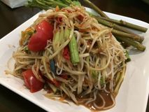 Som Tam. Is green papaya salad cuisine from Thailand Royalty Free Stock Photos