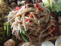 Som Tam is green papaya. Salad cuisine from Thailand Stock Photography