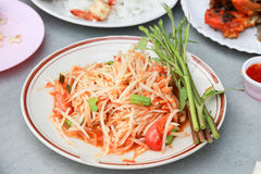 Som Tam -  green papaya salad. Som Tam, Thai dish, serve with morning glory vegetable Stock Images
