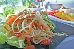 SOM TAM MALAKOR or Thai papaya salad stock photos