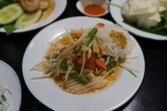 Som-Tam,papaya salad Thai food. A Som-Tam,papaya salad Thai food Stock Photography