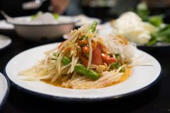 Som-Tam,papaya salad Thai food. A Som-Tam,papaya salad Thai food stock photos