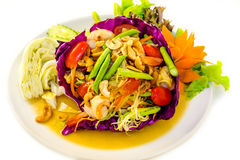 Som Tam. Papaya salad. Traditional Thai cuisine. Local asian food Royalty Free Stock Photo