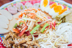 Som tam ,papaya salad . Stock Photo