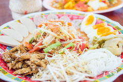 Som tam ,papaya salad . Very famous dish of Thai food Stock Photos