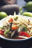 Som Tam Pu. PAPAya Salad with Salt Crab Thai food Stock Photography