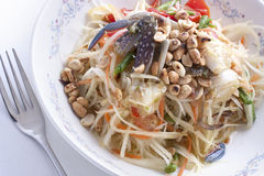 Som tam pu Thai green papaya salad. Som tam pu, a Thai green papaya salad with brined Crabs stock images