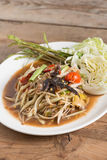 Som Tam is spicy green papaya salad. Som Tam is spicy green papaya salad, Thai food stock images