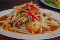 Som Tam is spicy green papaya salad Thai food. Ideal for use in the design and decoration of tourism advertising stock photography