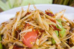 Som tam, spicy papaya salad. From Thailand Royalty Free Stock Photos
