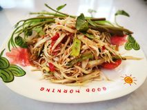 SOM TAM. Is a spicy salad made from green papaya,  is famous food in Thailand Stock Photos