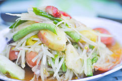 Som tam , spicy salad  or Thai food. Som tam , spicy salad dish or Thai food Stock Images