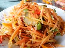 Papaya salad. SOM-TAM Thai delicious raw papaya salad with unique taste hot and spicy stock photography