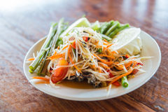 Som Tam is Thai delicious taste hot and spicy papaya salad with crab Royalty Free Stock Photo