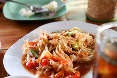 Som tam thai. Green papaya salad Stock Photos
