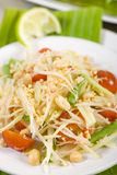 Som Tam Thai. Thai Green Papaya Salad with peanuts Stock Images