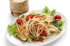 Som tam thai. Green papaya salad, sticky rice in bamboo container Stock Image