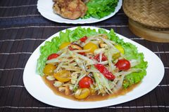 Som Tam; Thai papaya salad. Som Tam; Thai hot and spicy papaya salad Stock Images