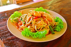Som Tam or Thai papaya salad. It is the hot taste food and it is the favorite food of asia people Stock Image