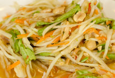 Som Tam Thai (Papaya salad). Thai North East  Tradition spicy food , closeup Royalty Free Stock Photos