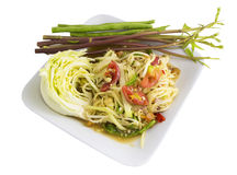 Som tam (Thai papaya salad). Recipe Stock Images