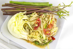 Som tam (Thai papaya salad). Recipe Stock Photos