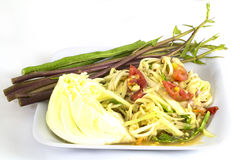 Som tam (Thai papaya salad). Recipe Royalty Free Stock Photo