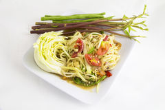 Som tam (Thai papaya salad). Recipe Royalty Free Stock Image