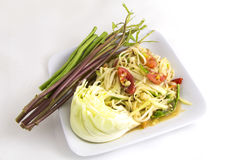 Som tam (Thai papaya salad). Recipe Royalty Free Stock Photography