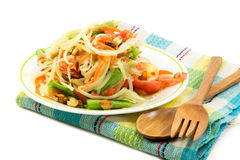 Som Tam, Thai papaya salad. With spoon and fork Stock Image